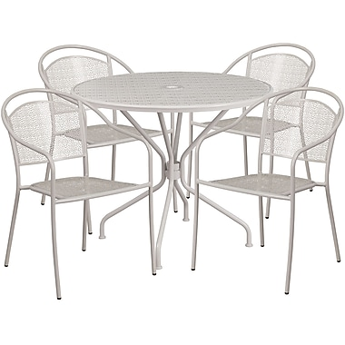 35.25'' Round Light Grey Indoor-Outdoor Steel Patio Table Set with 4 Round Back Chairs [CO-35RD-03CHR4-SIL-GG]