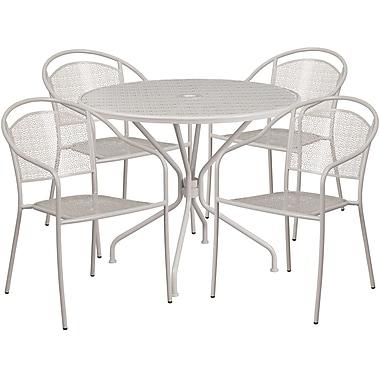 Table de jardin ronde de 35,25 po en acier et 4 chaises au dossier rond, intérieur/extérieur, gris pâle [CO-35RD-03CHR4-SIL-GG]
