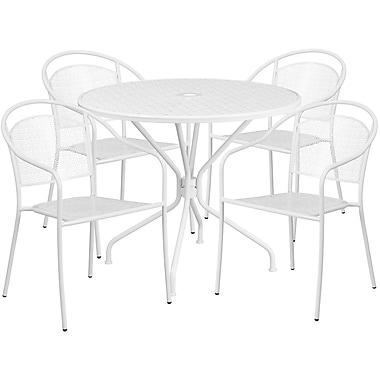 Table de jardin ronde de 35,25 po en acier, et 4 chaises au dossier rond, intérieur/extérieur, blanc [CO-35RD-03CHR4-WH-GG]