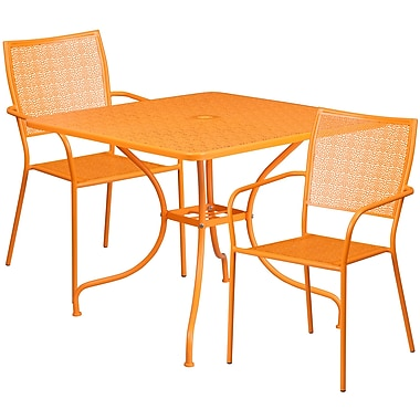35.5'' Square Orange Indoor-Outdoor Steel Patio Table Set with 2 Square Back Chairs [CO-35SQ-02CHR2-OR-GG]