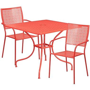 Table de jardin carrée en acier de 35,5 po et 2 chaises au dossier carré, intérieur/extérieur, corail [CO-35SQ-02CHR2-RED-GG]