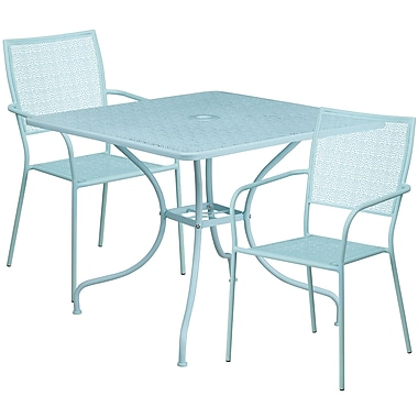 35.5'' Square Sky Blue Indoor-Outdoor Steel Patio Table Set with 2 Square Back Chairs [CO-35SQ-02CHR2-SKY-GG]