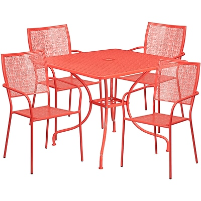 35.5'' Square Coral Indoor-Outdoor Steel Patio Table Set with 4 Square Back Chairs [CO-35SQ-02CHR4-RED-GG]