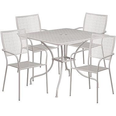 35.5'' Square Light Grey Indoor-Outdoor Steel Patio Table Set with 4 Square Back Chairs [CO-35SQ-02CHR4-SIL-GG]