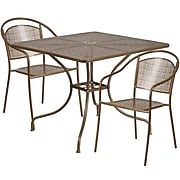 35.5'' Square Gold Indoor-Outdoor Steel Patio Table Set with 2 Round Back Chairs [CO-35SQ-03CHR2-GD-GG]