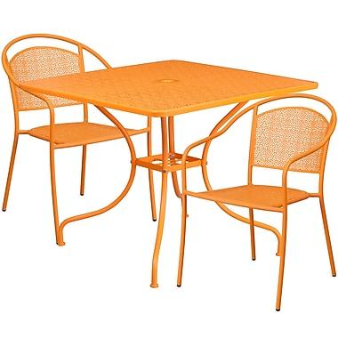 Table de jardin carrée de 35,5 po en acier orange avec 2 chaises à dossier rond, intérieur/extérieur [CO-35SQ-03CHR2-OR-GG]