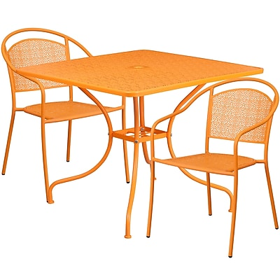 35.5'' Square Orange Indoor-Outdoor Steel Patio Table Set with 2 Round Back Chairs [CO-35SQ-03CHR2-OR-GG]