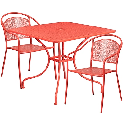 35.5'' Square Coral Indoor-Outdoor Steel Patio Table Set with 2 Round Back Chairs [CO-35SQ-03CHR2-RED-GG]