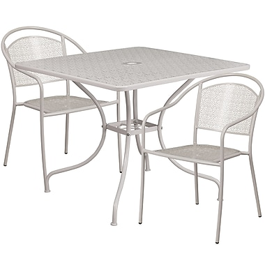35.5'' Square Light Grey Indoor-Outdoor Steel Patio Table Set with 2 Round Back Chairs [CO-35SQ-03CHR2-SIL-GG]