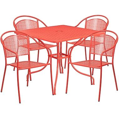 Table de jardin carrée de 35,5 po en acier corail et 4 chaises au dossier rond, intérieur/extérieur [CO-35SQ-03CHR4-RED-GG]