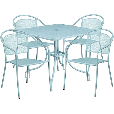 35.5'' Square Sky Blue Indoor-Outdoor Steel Patio Table Set with 4 Round Back Chairs [CO-35SQ-03CHR4-SKY-GG]