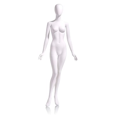 Econoco Mannequins, Female - Oval head facing straight, arms at side, right leg slightly bent, Each, 17.5x17.5x15 in.