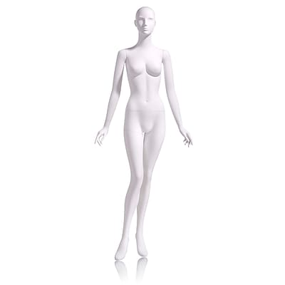 Econoco Mannequins, Female - Abstract head facing straight, arms at side, right leg slightly bent, Each, 18x47x15 in.