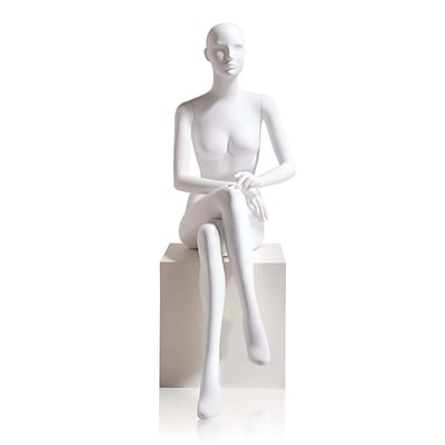 Econoco Mannequins, Female - Abstract head facing straight, Seated, Right leg over left, hands in lap, Each, 18.5x46.75x18 in.