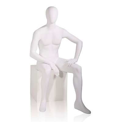Econoco Mannequins, Male - Oval head facing straight, seated, Each, 19x47x18 in.