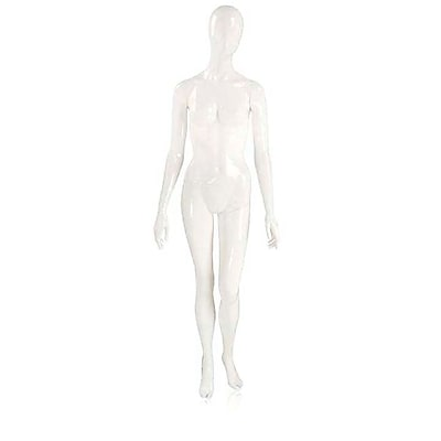 Econoco Mannequins, Female Mannequin - Oval Head, Arms by Side, Left Leg Slightly Bent - Gloss White, Each, 17x45.5x15 in.