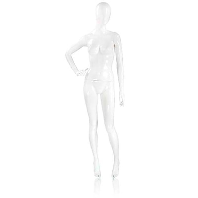Econoco Mannequins, Female Mannequin - Oval Head, Right Hand on Hip, Legs Slightly Bent, Each, 17x45.5x15 in.