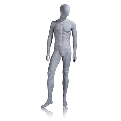 Mondo Mannequins, Male Mannequin - Oval Head, Arms at Side, Right Leg Slightly Bent - Slate Grey, Each, 18x46.25x17.25 in.