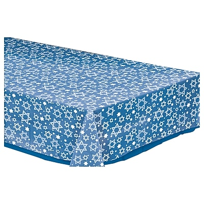 Amscan Star of David Plastic Tablecover, Clear, 54