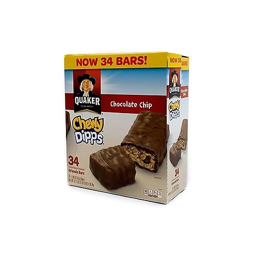 Quaker Chewy Dipps Bars, Chocolate Chip, 1.09 Oz., 34/Box (220-00437)