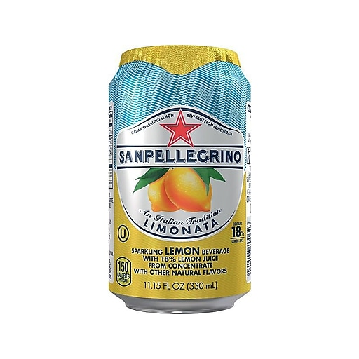 San Pellegrino® Sparkling Fruit Beverages, Lemon, 11.15oz. Can, 12/PK (12177426)