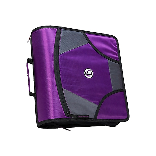 "Case-it King Sized Zip Tab 4"" 3-Ring Zipper Binder, Purple (D-186 PUR)"