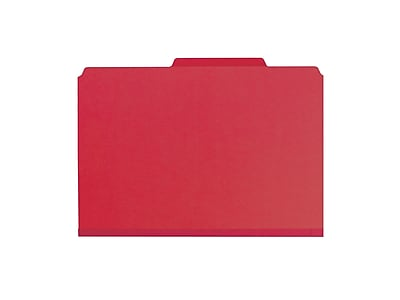 Smead Pressboard Classification Folders with SafeSHIELD Fasteners, Legal Size, 1 Divider, Bright Red, 10/Box (18731)