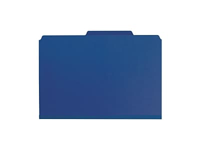 Smead Pressboard Classification Folders with SafeSHIELD Fasteners, Legal Size, 1 Divider, Dark Blue, 10/Box (18732)