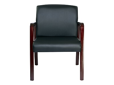 Merveilleux Alera Reception Lounge Leather Guest Chair, Black/Mahogany (ALERL4319M)    Staples