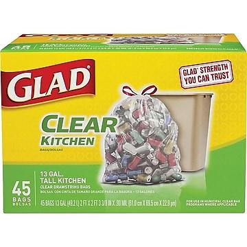Glad Drawstring Extra Heavy Recycling 13 Gallon Trash Bag, Low Density, .90 mil, Clear, 45 Bags/Box (78543)