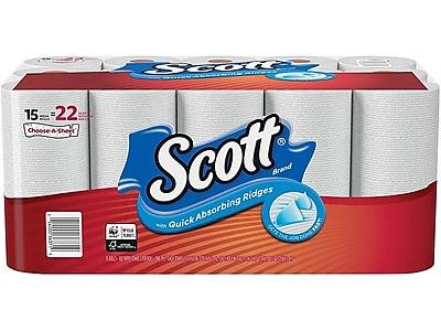 Scott Choose-A-Sheet Kitchen Roll Paper Towels, 1-Ply, 102 Sheets/Roll, 15 Rolls/Pack (36371)