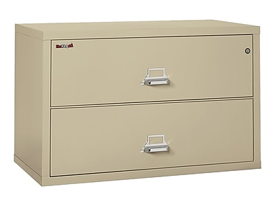 FireKing Classic 2-Drawer Lateral File Cabinet, Fire Resistant, Beige, Letter/Legal, 44.5