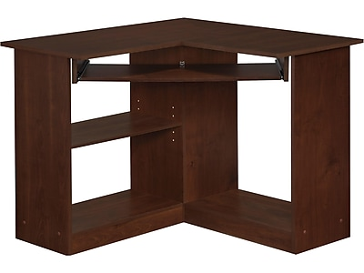 easy2go corner computer desk resort cherry staples rh staples com
