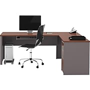 """Bestar Connexion 71"""" L-Shaped Desk, Bordeaux/Slate, (93880-39)"""