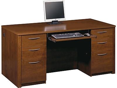 "bestar Embassy 66"" Double Pedestal Desk, Brown (60850-63)"