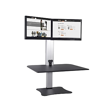 """Victor Technology 28"""" W High Rise™ Electric Dual Monitor Standing Desk, Laminate Wood (DC450)"""