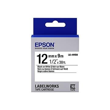 "Epson LabelWorks LK-4WBN Label Maker Tape, 0.47""W, Black On White"