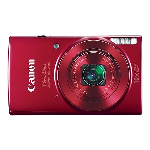 Canon PowerShot ELPH 190 IS 20 Megapixels Point & Shoot Camera, 10x Zoom,  Red