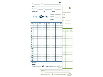 Pyramid Time Cards for 2600, 2650, 2650Pro, 6200 and 6400 Time Clocks, 100/Pack (42415)