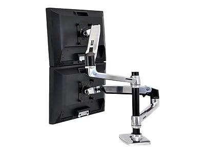"""Ergotron LX Dual Monitor Arm, Up to 24"""" Monitors, Polished Aluminum/Black (45-248-026)"""
