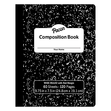 Pacon® Composition Book, Black Marble Hard Cover, 12/Set (PACMMK37118)