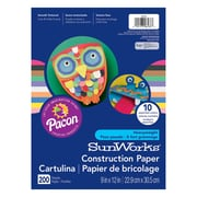 "Pacon® SunWorks® Construction Paper, 9""x12"", Assorted Colours, 600/Set (PAC6533)"