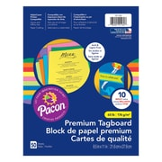 "Pacon® Premium Tagboard Assortment, 8.5""x11"", Brights Color Assortment, 3 Packs of 50 sheets Per Pack (PAC101164)"