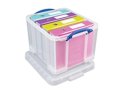 Really Useful Box 33.81 Qt. Snap Lid Storage Boxes, Clear, 3/Pack (32C-PK3CB)