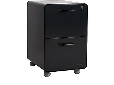 "Poppin Stow 2-Drawer Vertical File Cabinet, Mobile/Pedestal, Black, Letter/Legal, 20""D (103107)"