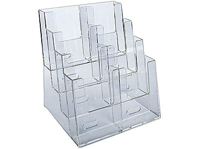 Azar Displays Four-Tier Trifold Brochure Holder, Clear Plastic (252377)