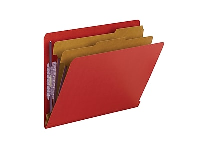 Smead End Tab Pressboard Classification File Folder with SafeSHIELD, Letter Size, Bright Red, 10/Box (26783)