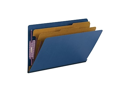 Smead End Tab Pressboard Classification File Folder with SafeSHIELD, Legal Size, Dark Blue, 10/Box (29784)