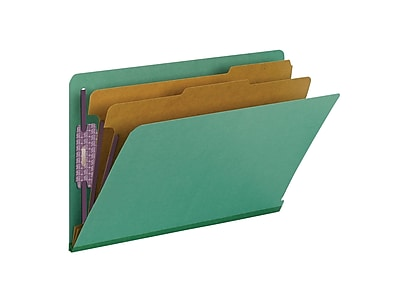Smead End Tab Pressboard Classification File Folder with SafeSHIELD®, Legal Size, Green, 10/Box (29785)