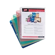Staples Standard Plastic File Jackets, Flat, Letter-Size, Assorted Colors, 5/Pack (36052)